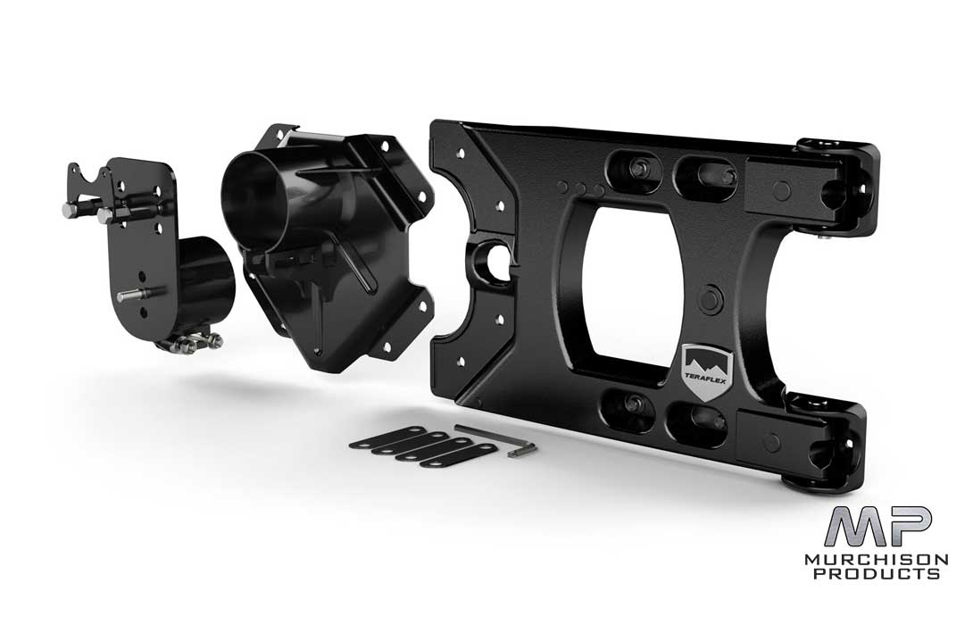 TeraFlex JK Wrangler Alpha HD Hinged Spare Tire Carrier & Alpha HD Adjustable Spare Tire Mounting Kit